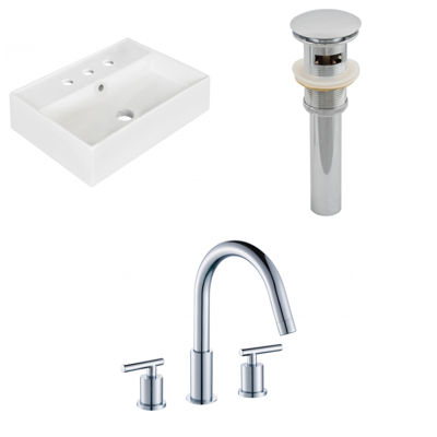 19.75-in. W Above Counter White Vessel Set For 3H8-in. Center Faucet - Faucet Included