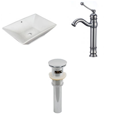 22-in. W Above Counter White Vessel Set For Deck Mount Drilling - Faucet Included