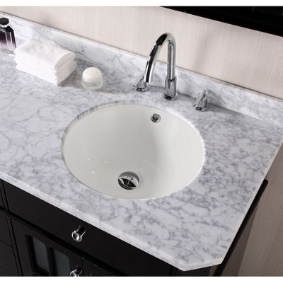 15.5-in. W CUPC Round Undermount Sink Set In Biscuit - Chrome Hardware With 3H8-in. CUPC Faucet