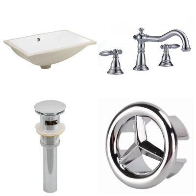 18.25-in. W CUPC Rectangle Undermount Sink Set InWhite - Chrome Hardware With 3H8-in. CUPC Faucet -Overflow Drain Included