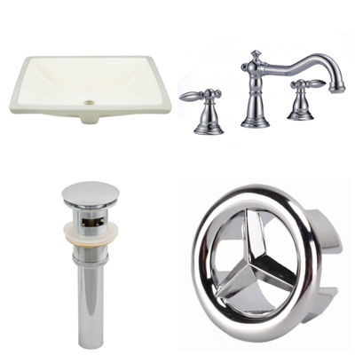 18.25-in. W CUPC Rectangle Undermount Sink Set InBiscuit - Chrome Hardware With 3H8-in. CUPC Faucet- Overflow Drain Included