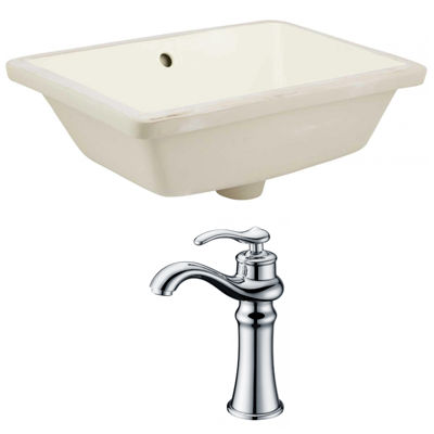 18.25-in. W Rectangle Undermount Sink Set In Biscuit - Chrome Hardware With Deck Mount CUPC Faucet