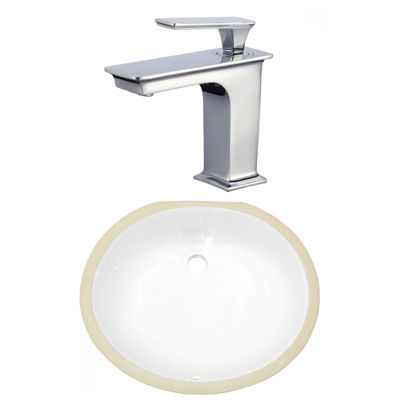 16.5-in. W CSA Oval Undermount Sink Set In White -Chrome Hardware With 1 Hole CUPC Faucet