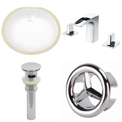 W CUPC Oval Undermount Sink Set In White  Chrome Hardware With