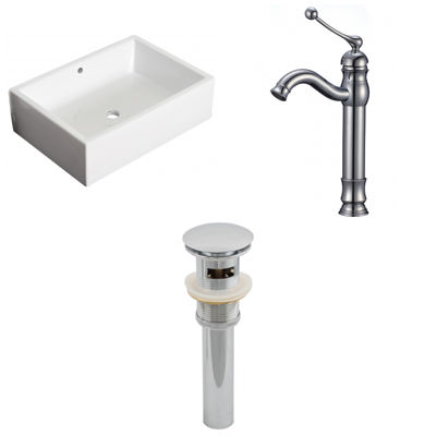 20-in. W Above Counter White Vessel Set For Deck Mount Drilling - Faucet Included