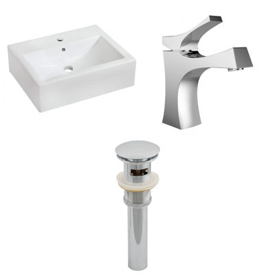American Imaginations 20.25-in. W Wall Mount White Vessel Set For 1 Hole Center Faucet - Faucet Included