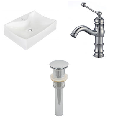 21.5-in. W Wall Mount White Vessel Set For 1 HoleCenter Faucet - Faucet Included