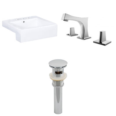 20.25-in. W Semi-Recessed White Vessel Set For 3H8-in. Center Faucet - Faucet Included