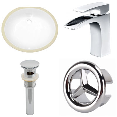 19.5-in. W CUPC Oval Undermount Sink Set In White- Chrome Hardware With 1 Hole CUPC Faucet - Overflow Drain Included