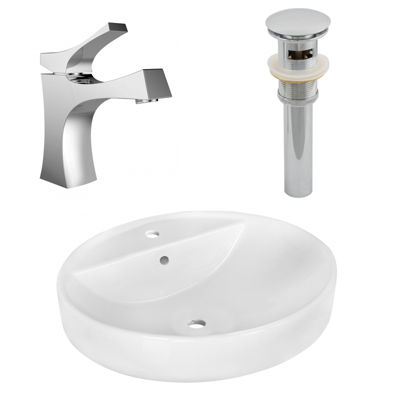 18.1-in. W Above Counter White Vessel Set For 1 Hole Center Faucet - Faucet Included
