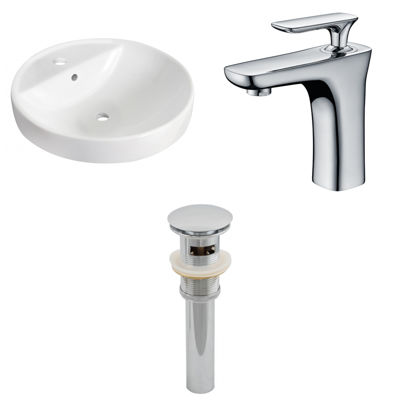 18.25-in. W Drop In White Vessel Set For 1 Hole Center Faucet - Faucet Included