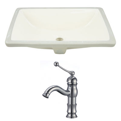 20.75-in. W Rectangle Undermount Sink Set In Biscuit - Chrome Hardware With 1 Hole CUPC Faucet