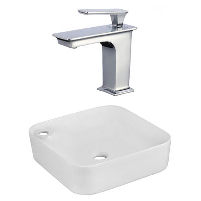 17-in. W Above Counter White Vessel Set For 1 Hole Left  Faucet - Faucet Included