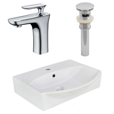 American Imaginations 19.5-In. W Wall Mount White Vessel Set For 1 Hole Center Faucet - Faucet Included