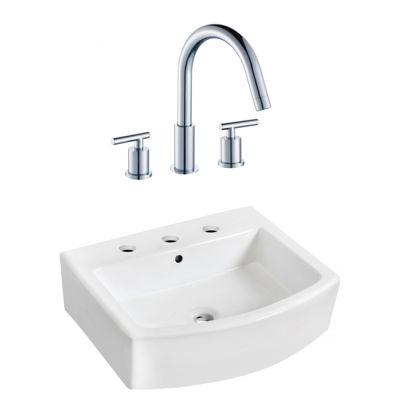 22.25-in. W Wall Mount White Vessel Set For 3H8-in. Center Faucet - Faucet Included