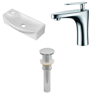 17.75-in. W Wall Mount White Vessel Set For 1 HoleLeft  Faucet - Faucet Included