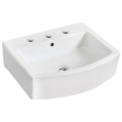 22.25-in. W Wall Mount White Vessel For 3H8-in. Center Drilling