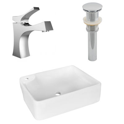 17.25-in. W Above Counter White Vessel Set For 1 Hole Left  Faucet - Faucet Included