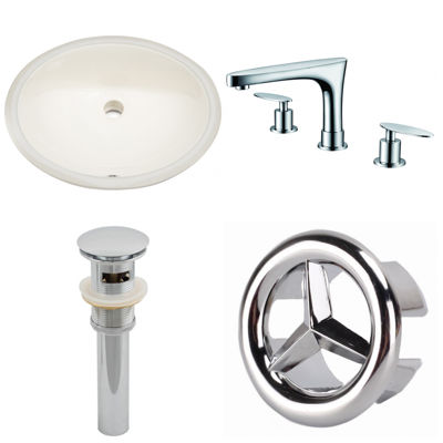 19.75-in. W CUPC Oval Undermount Sink Set In Biscuit - Chrome Hardware With 3H8-in. CUPC Faucet - Overflow Drain Included