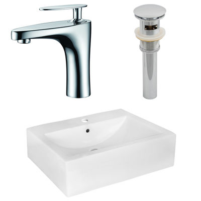 20.25-in. W Above Counter White Vessel Set For 1 Hole Center Faucet - Faucet Included