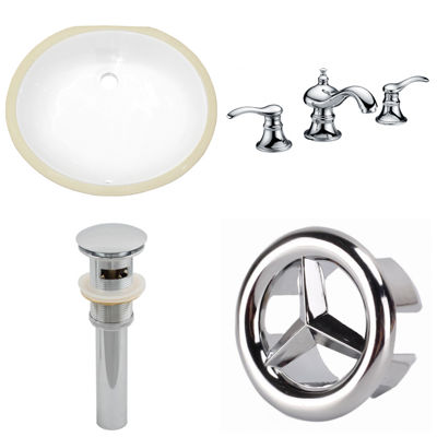 19.5-in. W CUPC Oval Undermount Sink Set In White- Chrome Hardware With 3H8-in. CUPC Faucet - Overflow Drain Included
