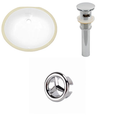 19.5-in. W CUPC Oval Undermount Sink Set In White- Overflow Drain Included