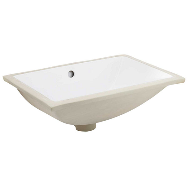 20.75-in. W Rectangle Undermount Sink Set In White- Overflow Drain Included