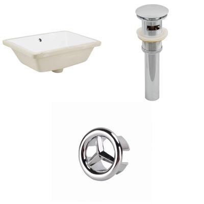 18.25-in. W Rectangle Undermount Sink Set In White- Overflow Drain Included