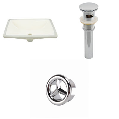 20.75-in. W Rectangle Undermount Sink Set In Biscuit - Overflow Drain Included