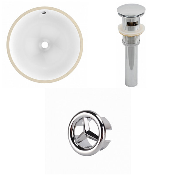 15.25-in. W Round Undermount Sink Set In White - Overflow Drain Included