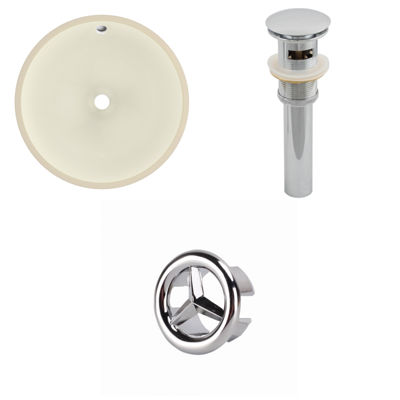 15.5-in. W CUPC Round Undermount Sink Set In Biscuit - Overflow Drain Included