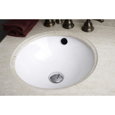 16.5-in. W Round Undermount Sink Set In White - Chrome Hardware With 3H8-in. CUPC Faucet