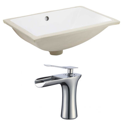 20.75-in. W Rectangle Undermount Sink Set In White- Chrome Hardware With 1 Hole CUPC Faucet