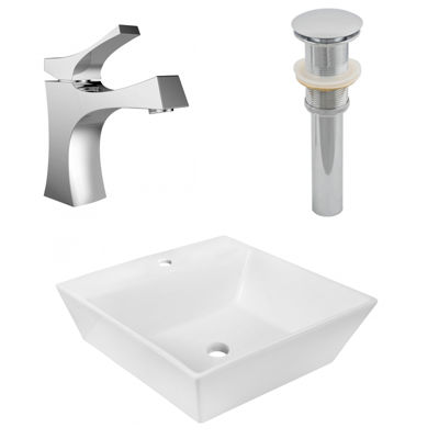 16.5-in. W Above Counter White Vessel Set For 1 Hole Center Faucet - Faucet Included