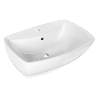 21.75-in. W Above Counter White Vessel Set For 1 Hole Center Faucet - Faucet Included