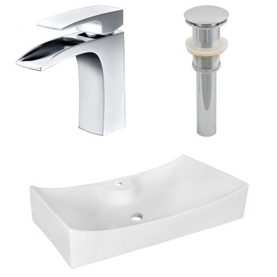26.25-in. W Above Counter White Vessel Set For 1 Hole Center Faucet - Faucet Included