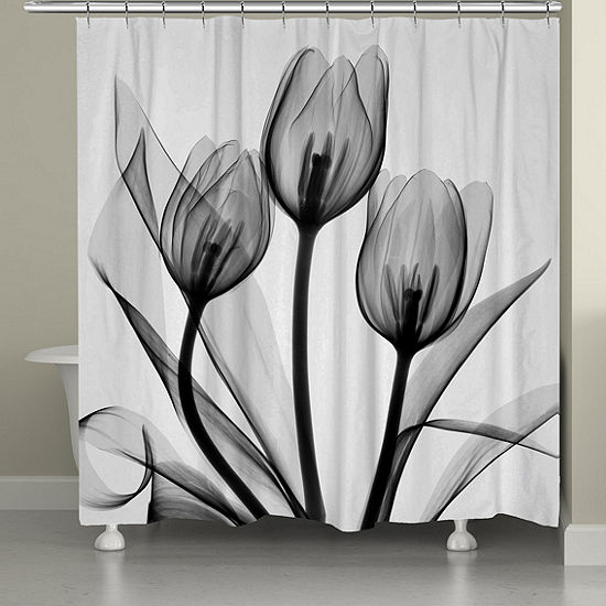 Laural Home Black and White Tulips Shower Curtain