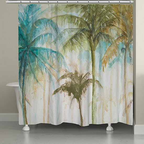 Laural Home Watercolor Palm Shower Curtain