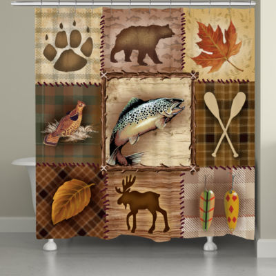Laural Home Plaid Lodge Patch Shower Curtain