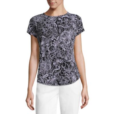 Liz Claiborne Short Sleeve Pleated Knit Top