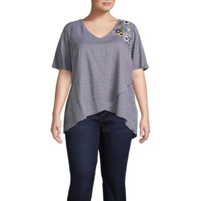 Alyx Short Sleeve V Neck Woven Blouse - Plus