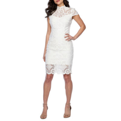 Premier Amour Short Sleeve Lace Sheath Dress
