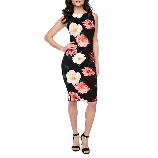 Premier Amour Sleeveless Floral Sheath Dress