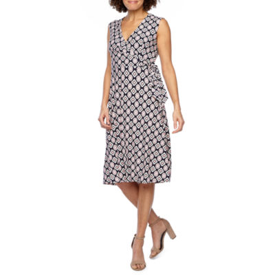 Studio 1 Sleeveless Geometric Puff Print Wrap Dress