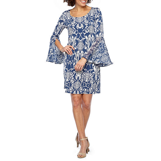 MSK Long Sleeve Scroll Shift Dress