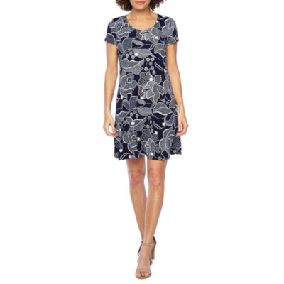 MSK Short Sleeve Floral Puff Print Swing Dress