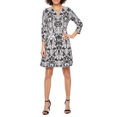 MSK 3/4 Sleeve Scroll Puff Print Swing Dress