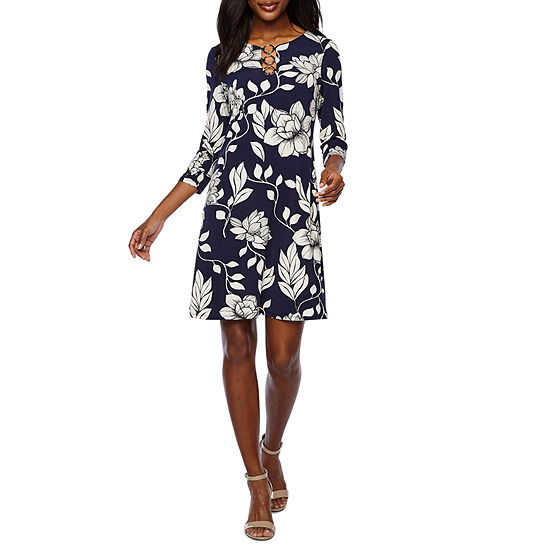 MSK 3/4 Sleeve Floral Swing Dresses