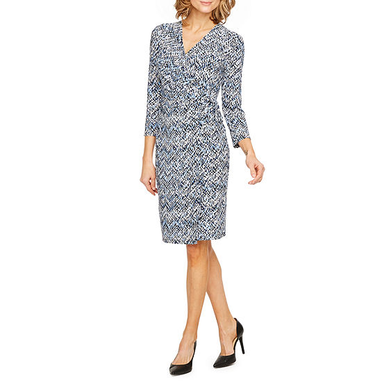 Black Label by Evan-Picone 3/4 Sleeve Dots Wrap Dress