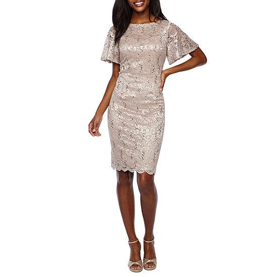 Jackie Jon Short Flutter Sleeve Lace Sheath Dress